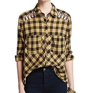 Free People Long Sleeve Plaid Button Front Shirt